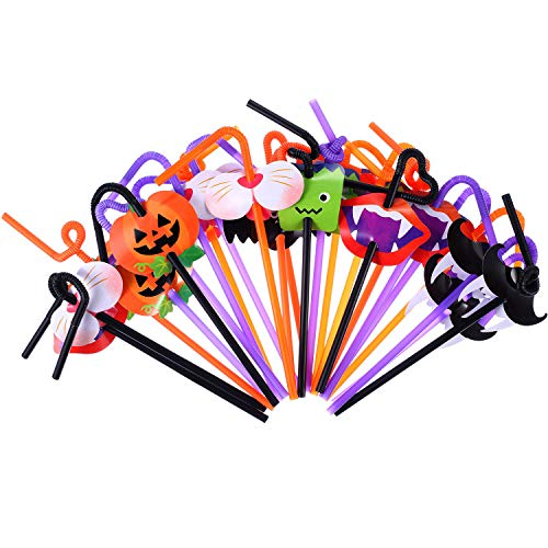 Jetec 72 Pieces Halloween Straws Pumpkin Vampire Straws Plastic Drinking Straw with Card Decors for Halloween Party (Purple, Black, Orange) ()