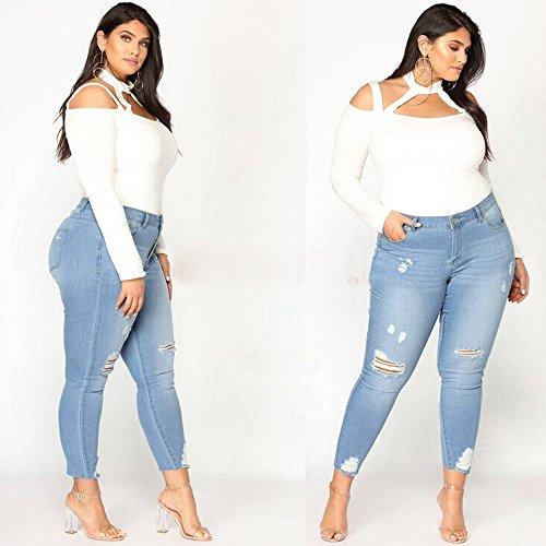 Azul Vaqueros Tallas Mujer Casuales Pantalones Claro Jeans Rotos Sueltos Mezclilla Grandes Pantalones Gusspower Agujero wqEa7XF