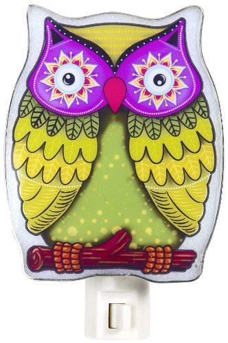 Night Owl Bird (Colorful Green Owl NightLight by Ganz)