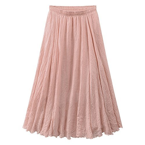 Ourlove Fashion Women's Bohemian Style Elastic Waist Band Cotton Linen Long Maxi Skirt Summer Dress (95 cm, Shanshan)