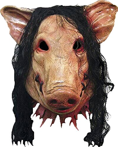 Scary Pig Mask with Hair for Halloween Costume Make-up Party Decoration Latex Pig Mask (Homemade Girl Clown Costume)