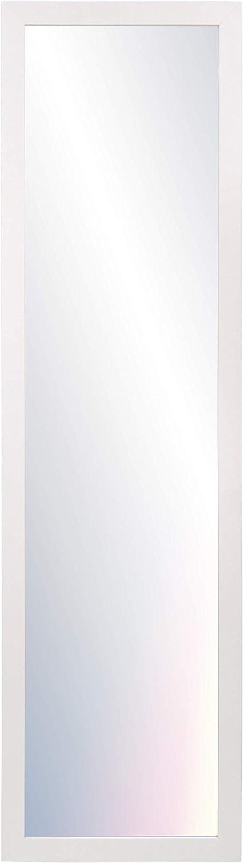 Chely Intermarket, Espejo de Pared Cuerpo Entero 35x140cm(Marco Exterior 42x147cm) MOD-128(Blanco-Liso) Forma Rectangular | Decoración de salón, recibidor, Dormitorio (128-35x140-6,15)
