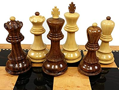"4 Queens - Opposite Tops - 3 3/4"" King Staunton Sheesham Wood Russian Knight Chess Men Set - NO Board"
