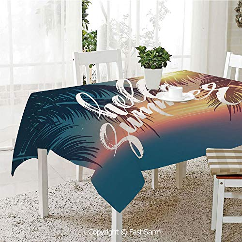 AmaUncle 3D Print Table Cloths Cover Hello Summer Design A Tropic Paradise Beach and The Sunshine Pattern Print Resistant Table Toppers (W60 xL84)