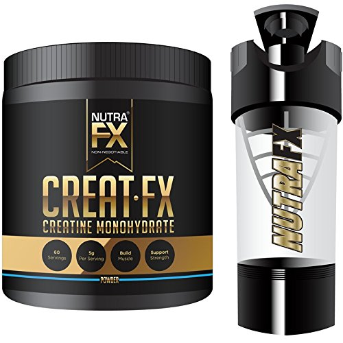 NUTRAFX Creatine Monohydrate Powder Micronized 5G Per Serving 60 Servings With High-Tech Shaker Bottle
