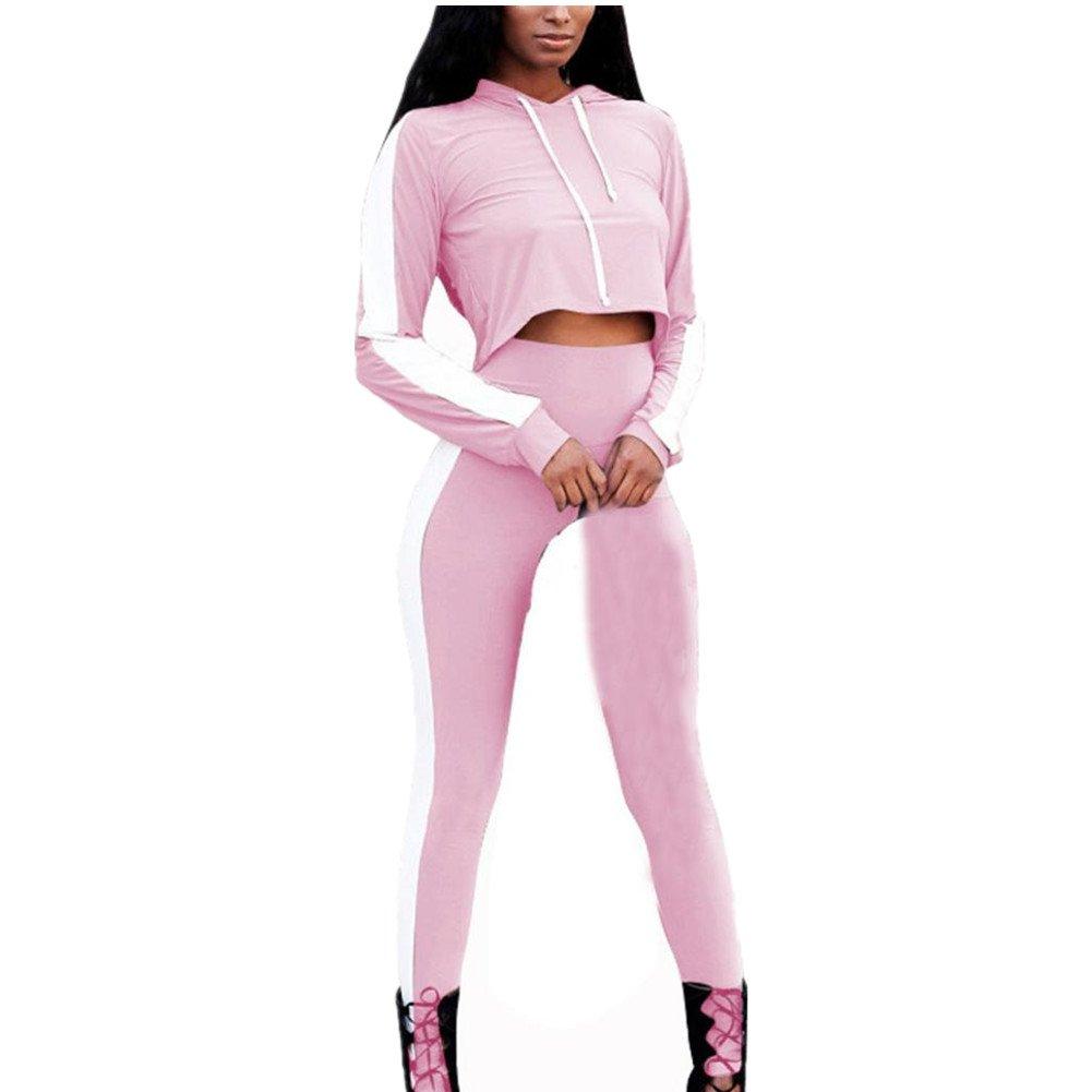 HARRYSTORE Women Tracksuits Sets Fashion Hoodie Crop Tops Pants Long Sleeve O-Neck Split 2 Piece Set Casual Outfit Sportswear Loungewear Sets