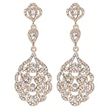mecresh Gold Wedding Jewelry Crystal Bridal Dangle Earrings, Linked Earrings For Women or Bridesmaids