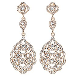 Crystal Rhinestone Beaded Dangle Earrings for Brides