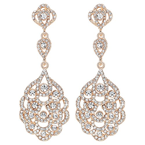 - mecresh Wedding Teardrop Dangle Earrings Crystal Rhinestone Beaded Chandelier Earrings for Brides Gold