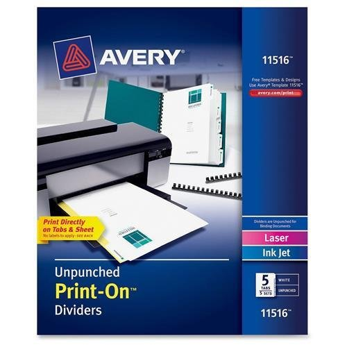 Dividers 8.5 White (Avery Print-On Dividers, 5-Tab, Unpunched, 8-1/2 x 11, White, 5 Sets/Pack)