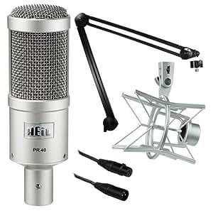 Heil Sound PR 40 Dynamic Cardioid Studio Microphone Bundle with PRSM Shock Mount, PL2T Overhead Studio and Broadcast Boom Mount and Microphone Cable