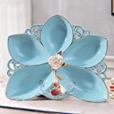 blue petal ceramics fruit dish fashion High capacity Pastry dish coffee table Home Decoration Candy plate Living room Decoration