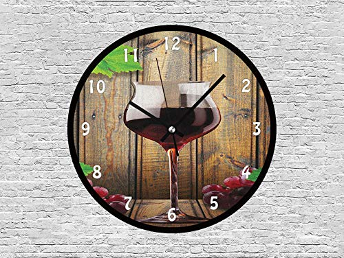 Unique Decorative 10 Inchs Round Wall Clock-Wine Glasses and Grapes Rustic Wood Planks Alcoholic Drink Gourmet Taste,Silent Non Ticking Quartz Battery Operated Black Wall Clock for Home/Office/School.
