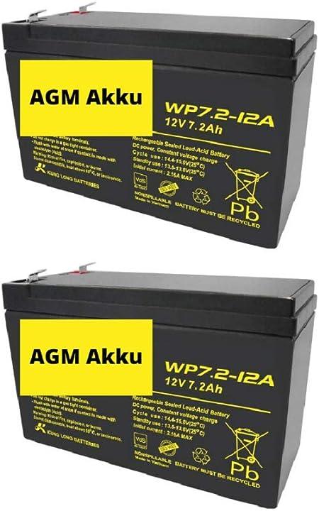 2x Agm 12v 7 2ah Bleiakku Wp7 2 12 Vds Akku Faston Elektronik