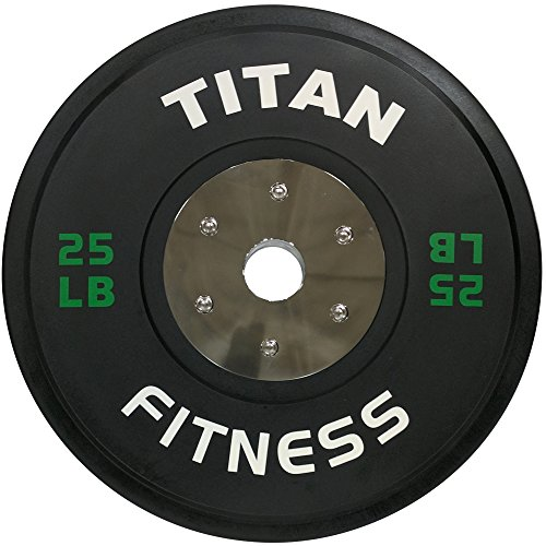 Pair of Titan Elite Olympic Bumper Plates - 25 LB (Black/Green) by Titan Fitness (Image #2)