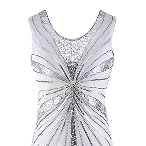 Gland Robe En Carton robe White Pour gatsby Robe 1920 À Vintage De Des Paillettes Bal Femme Années kPnwNX8O0