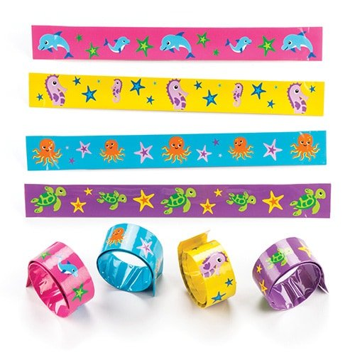 Sealife Buddies Snap-on Bracelets for Kids - Fun Summer Toy Party Bag Filler Kids Loot Gifts (Pack of 4) (Buddy Bracelet Set)