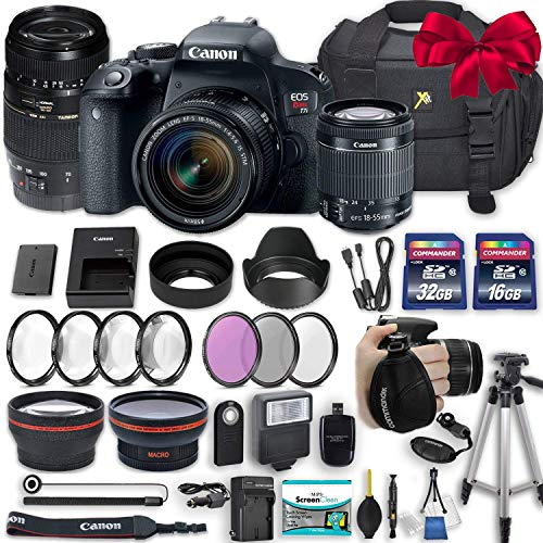 Canon EOS Rebel T7i 24.2 MP DSLR Camera with Canon EF-S 18-55mm f/4-5.6 is STM Lens + Tamron 70-300mm f/4-5.6 Di LD Lens + 2 Memory Cards + 2 Aux Lenses + 50″ Tripod + Accessories Bundle (24 Items)