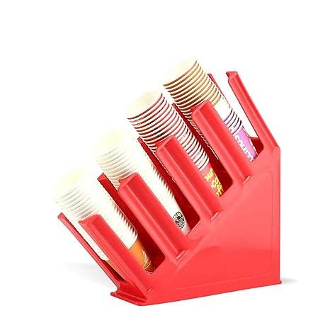 AUTOECHO Coffee Cup Tapa Manga 4 Compartimiento Dispensador de plástico portavasos para Restaurante Acrílico Copa y