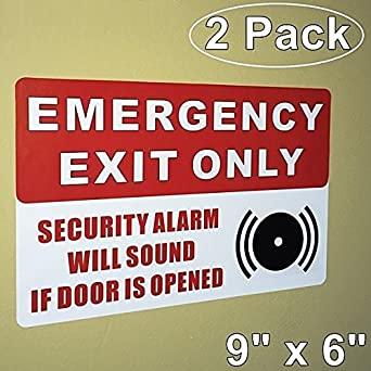 OutdoorIndoor Pack X EMERGENCY EXIT ONLY SECURITY - Window alert decals amazon
