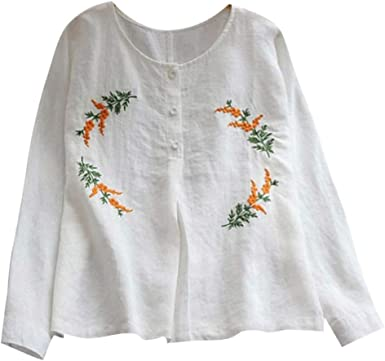 VEMOW Camisetas Mujer Tops Camisola Bordada con Botones de Manga Larga de Color Liso para Mujer Blusas: Amazon.es: Ropa y accesorios