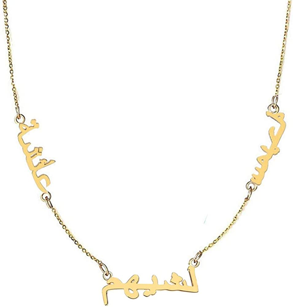 Personalized 925 Sterling Silver Arabic Pendant Necklace Custom Made with Any Name,14-24 Inch Chain