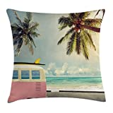 Ambesonne Sea Throw Pillow Cushion Cover, Minivan on The Beach Retro Inspired Vacation Clouds in Summer Sky Honeymoon Destination, Decorative Square Accent Pillow Case, 18 X 18 inches, Multi