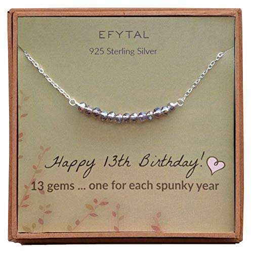 EFYTAL 13th Birthday Gifts for Girls, Sterling Silver Necklace, 13 Beads for 13 Year Old Girl, Bat Mitzvah Gift, New Teen -