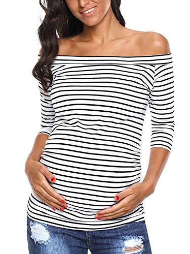 AnnAnn Womens Maternity Tunic Tops Off Shoulder 3/4 Sleeve Classic Side Ruched T-shirt Pregnancy Clothes White/Black Stripe Large