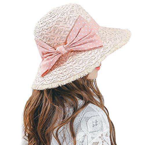Women's Girls Straw Hat Luffy w/ Big Bow Summer Wide Brim Sun Hat UPF50+ (Big Pink Hat)