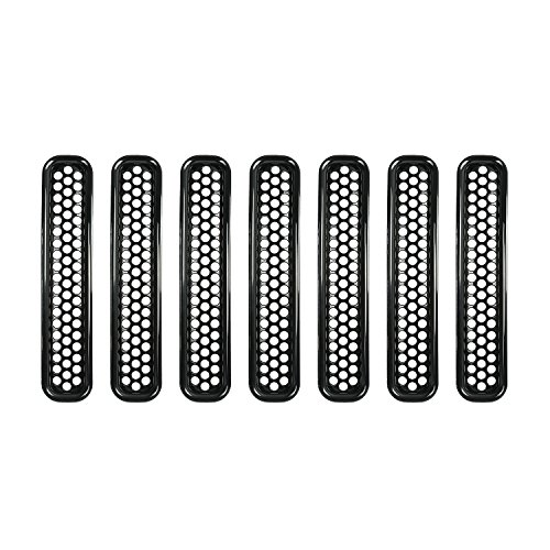 u-Box Jeep Wrangler Black Front Grille Inserts Honeycomb Mesh Inserts for 1997-2006 Jeep Wrangler TJ & Wrangler Unlimited – 7PCS