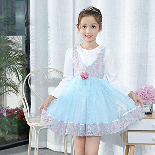 fea6d7a8ddae ... YYF Kinder Kleider Mädchen Festlich mit Spitze Langarm Prinzessin Kleid  Blau 0J02b34t3 ...
