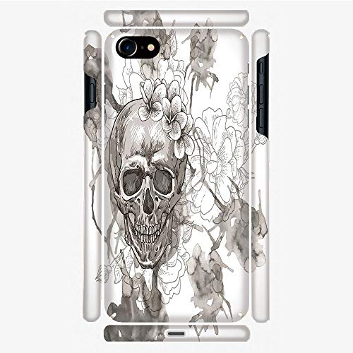Phone Case Compatible with 3D Printed iPhone 7/iPhone 8 DIY Fashion Picture,Skull Flowers Dia de Los Muertos Festive Decor,Personalized Designed Hard Plastic Cell Phone Back Cover Shell -
