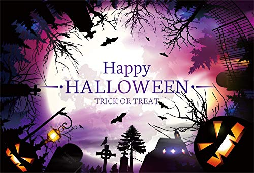 AOFOTO 9x6ft Happy Halloween Backdrop Country Village Night Scene Kids Trick or Treat Background for Photography Funny Pumpkin Ghost Face Gravestone Cross Bare Trees Bats Photo Studio Props Vinyl]()