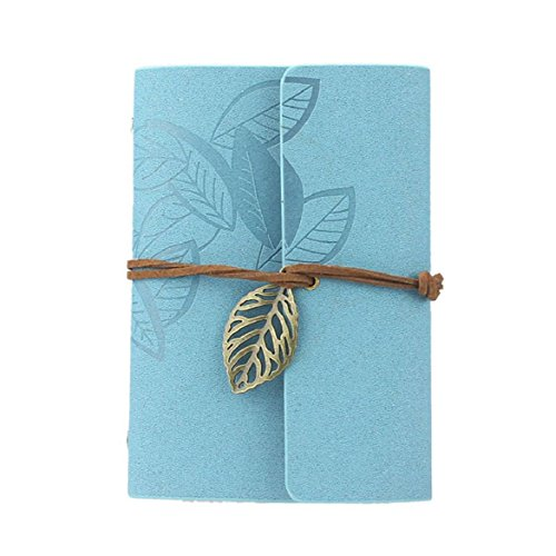 Vintage Leaf Leather Cover Loose Leaf Blank Journal Diary (Blue) - 5