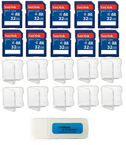 SanDisk 32GB SDHC Class 4 (10 Pack Bundle) Flash Memory Card SDSDB-032G-B35 Retail - with (10) SD Plastic Jewel Cases and (1) Everything But Stromboli (tm) Combo SD/TF Card Reader
