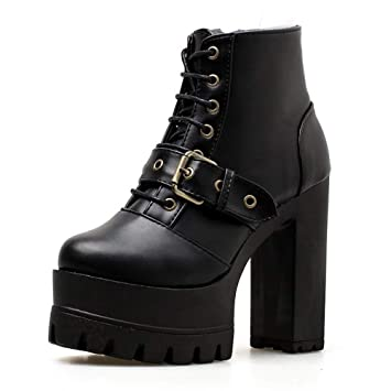 a948503b91786 LIANGXIE Ladies Womens Ankle Winter Biker Boots/Platform Block Chunky Gothic  Rock Punk Boots Retro Boots Buckle Comfortable Joker Martin Boots High Heel  ...