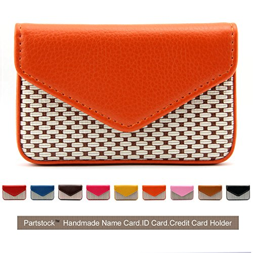 Partstock Multipurpose PU Leather Business Name Card Holder Wallet Leather Credit card ID Case / Holder / Cards Case with Magnetic Shut.Perfect Gift - Orange