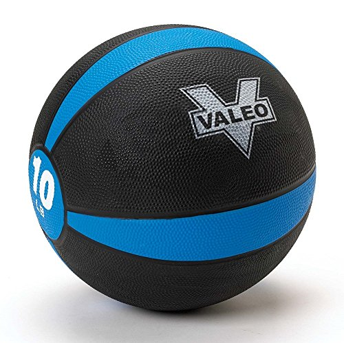 Valeo 10 lb Medicine Ball With Sturdy Rubber Construction And Textured Finish, Weight Ball Includes Exercise Wall Chart For Strength Training, Plyometric Training, Balance Training And Muscle Build