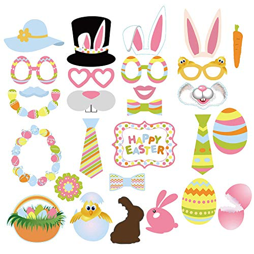 BLHEM Easter Photo Booth Props 28 PCS Easter Decorations Birthday Photo Booth Props Rabbit Basket Colorful Egg Bunny Easter Photographing Dress-up Acessories Easter Gifts for Festival Party ()