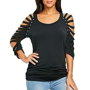 OHQ Moda para Mujer Ahueca hacia Fuera el o-Cuello Recorta la Camiseta Rasgada Camisetas Tops Camiseta, Camisetas de Mujer de Moda de Verano Blusas Blusas de Mujer para Mujer Moda 2018 (S, Negro)
