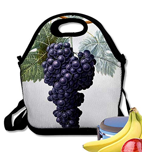 - Insulated Neoprene Lunch Bag Vintage Grapevine Grapes Leaf Purple Plant Vinyard Reusable Soft Lunch Tote for Work and School
