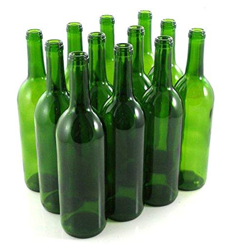 Green Wine Bottles, 750 ml Capacity (Pack of 12) by Strange Brew