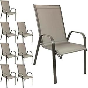 8pieza silla de jardín apilable Sillas apilables de jardín con estructura de acero, recubrimiento Cordaje Champán/champán
