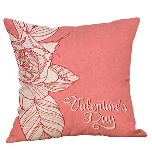 Cyhulu Cotton Linen 18''x18'' Quote Throw Flower Heart Love Square Zipper Pillow Case Cushion Cover for Happy Valentine's Day Home Bed Living Room Sofa Chair Office DIY Decor (E, One size)