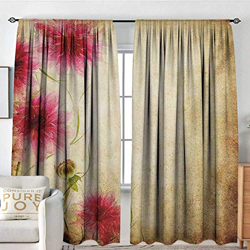 (Blackout Curtains for Bedroom Floral,Retro Flowers on Old Grunge Paper Background Nostalgic Background Bouquet Print,Sand Brown Pink,Thermal Insulated Darkening Panels for Cafe Windows 84