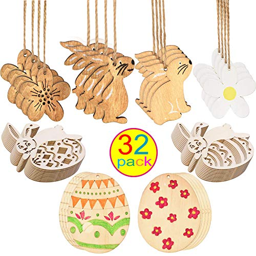 Tuoshei 32 Pieces Easter Wooden Embellishments Easter Wood Discs Wood Egg Ornament Easter Bunny with Hanging Cords for Easter Party (32) -