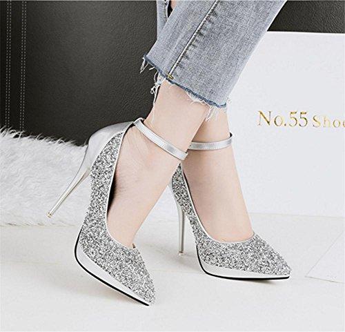 NVXIE Femmes Sexy Tribunal Chaussures Stylet Haute Talon Plate-Forme Cheville Sangle Boucle Noir Travail Fête Robe Boîte de Nuit SILVER-EUR37UK455 qBznOIV5f