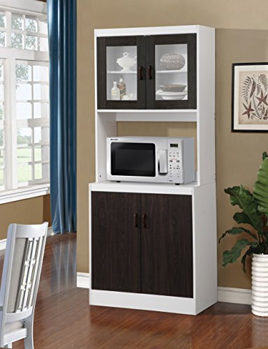 """Home Source 157BRD Tall Kitchen Cabinet with Solid Dark Brown Doors, 29 x 16 x 72"""", Black/Wood"""