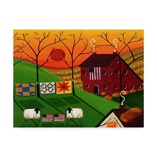 Trademark Fine Art Americana Sunrise Sheep by Cheryl Bartley, 14x19-Inch Fine Art, Multicolor ()